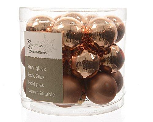 Mandel-glas (Kaemingk Weihnachtskugeln Mini 2,5cm Glas glanz/matt 24 Stück mandel)