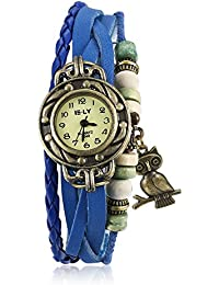 Naivo Women's Quartz Brass Plated Stainless Steel and Leather Casual Watch, Color:Blue (Model: NAIVO-WATCH-1202)
