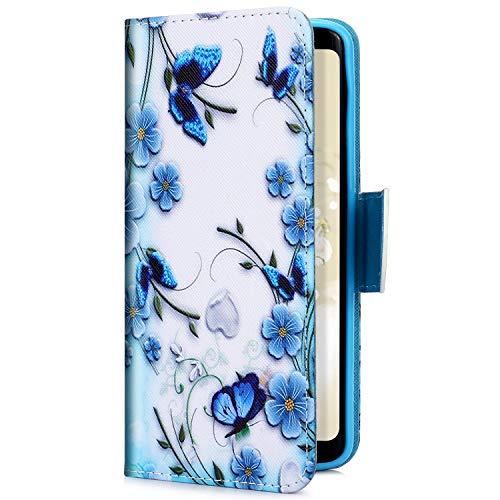 Uposao Kompatibel mit Samsung Galaxy J6 Plus 2018 Handyhülle Handytasche Bunt Muster Schutzhülle Flip Case Brieftasche Klapphülle Wallet Leder Hülle Tasche Ständer Kartenfächer,Schmetterling Blau