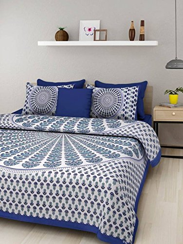 Bed Zone bedsheet for Double Bed offfer 100% Cotton Comfort Rajasthani Jaipuri Traditional King sizee Double Bedsheets with 2 Pillow Cover-Blue