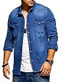 Rello & Reese Herren Jogg-Jeans Jeanshemd Hemd G-4132 [Blau, XL]
