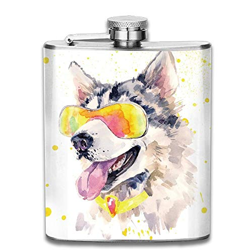 Gxdchfj Animal Funny Husky Dog with Sunglasses Humorous Cute Watercolor Cool Puppy Gift for Men 304 Stainless Steel Flask 7oz