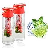 ONVAYA Trinkflasche mit Früchtebehälter 2er Set Sportflasche auslaufsicher Infusions Wasserflasche Fruchtschorlen 700ml Kunststoff BPA frei Getränkeflasche Wasser-Flasche Infuser (Trinkflaschen, rot)