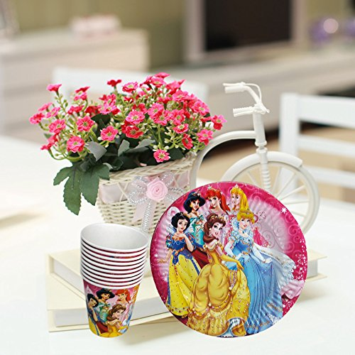 Maasha Birthday Plates Cups Disposable Set Theme Party Supplies Disposable Decoration Items For Girls - Set of 20 Pcs