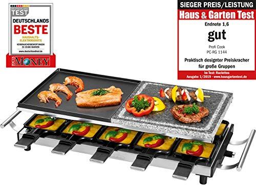 Profi Cook PC-RG 1144 Raclette/Tischgrill mit Naturgrillstein und Wendegussplatte, 10 Pfännchen, 10 Holzspatel, 1700 W