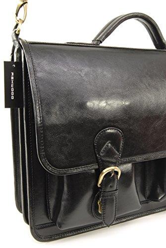 Groß Aktentasche/Laptoptasche Windsor von Ashwood - GRÖßE: B: 40,5 cm, H: 29 cm, T: 14 cm Schwarz