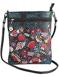 Stylish Multi Color Printed PU Leather Sling Bag For Girls / Women / Ladies 3 Zipper Pocket Cross Body Bag By... - B073RJK66P