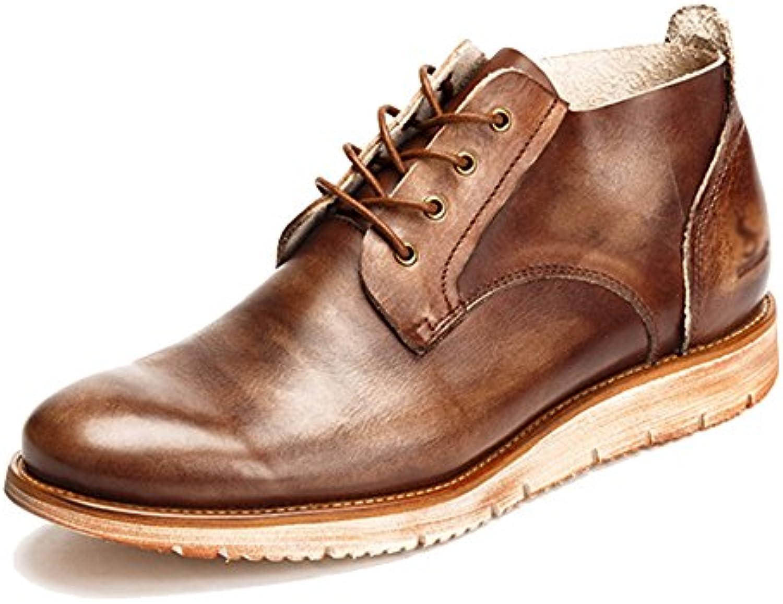 MERRYHE Zapatos Con Cordones Ocasionales Retro Cuero Real Burnish Botines De Cuero Para Hombres Desert Boot,Coffee-43 -