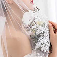 Fashband Bridal Fingertip Veil White Lace Wedding Veil Embroidery Hollow Out Lace with Metal Hair Comb Elbow Length for Brides Hand Made