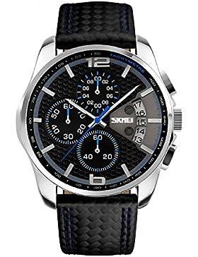 XLORDX SKMEI Herren Sport Armbanduhr Schwarz Leder Analog Quarz Datum Chronograph 5ATM wasserdicht Blau Zifferblatt