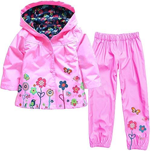 Conjuntos Bebé Niña, K-Youth Chaqueta Impermeable con Capucha y Flores Manga Larga Abrigos Bebé Unisex Tops y Pantalones Otoño Invierno Ropa Conjunto(Rosa, 2-3 años)