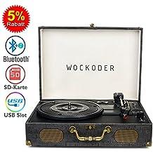 Wockoder Plattenspieler Turntable Vinyl Plattenspieler Koffer Vintage Retro Bluetooth USB Nostalgie Schallplattenspieler mit Lautsprecher Riemenantrieb Aux-In RCA 33/45/78 U/min