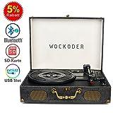 Wockoder Plattenspieler Turntable Vinyl Plattenspieler Koffer Vintage Retro Bluetooth USB