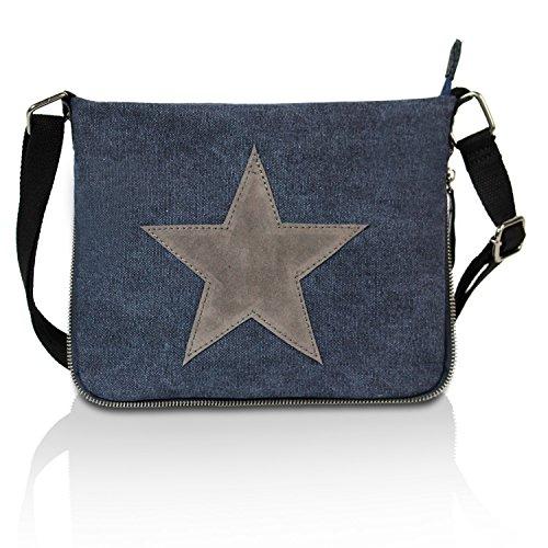 Gloop Top Fashion Sterne Handtasche Schultasche Canvas KunstLeder Trend Tragetasche TS201701 23099 Blau