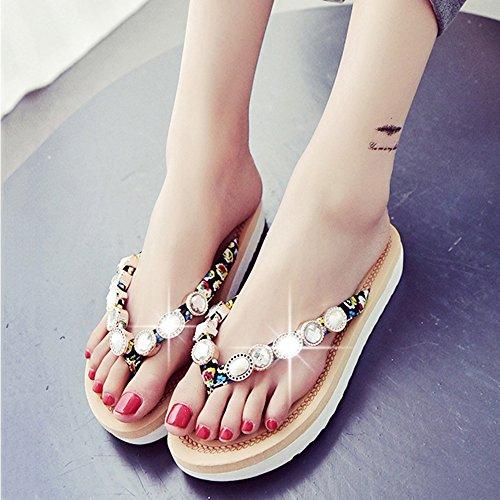 Estate Sandali Primavera e estate calzature pantofole pattini sandali scarpe donna versione coreana di dolce pattini flop di maree Colore / formato facoltativo Nero