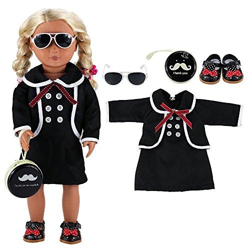 VILLAVIVI 4 Stück Kleidung Dress Kleid mit Sonnenbrille Tasche für 45-46cm Puppe 18 Inch Zoll American Girl Dolls Stehpuppe Puppenbekleidung