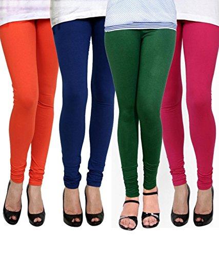 K\'s Creations Women\'s Cotton Lycra Churidar Leggings (Pack of 4) - Free Size