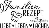 GRAZDesign 300217_57_WT070 Wandtattoo Familien-Rezept mit Kochmütze - Familientattoo als Wand-Deko für Wohnzimmer/Schlafzimmer / Küche (100x57cm // 070 schwarz)