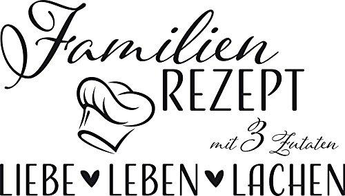 GRAZDesign Wandtattoo Familien-Rezept mit Kochmütze - Familientattoo als Wand-Deko für Wohnzimmer/Schlafzimmer/Küche / 88x50cm / 070 schwarz