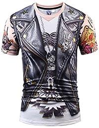 Bluepistil Designer Rock 3D Print T-Shirts Men Hip Hop Stylish Skull Letter Tops Black Fake Leather Shirt