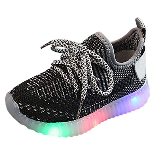 WHSHINE Jungen Mädchen LED Licht Weich Fliegendes Weben Freizeit Turnschuhe Sneakers Kinder Mesh Atmungsaktiv Wanderschuhe Laufschuhe ()
