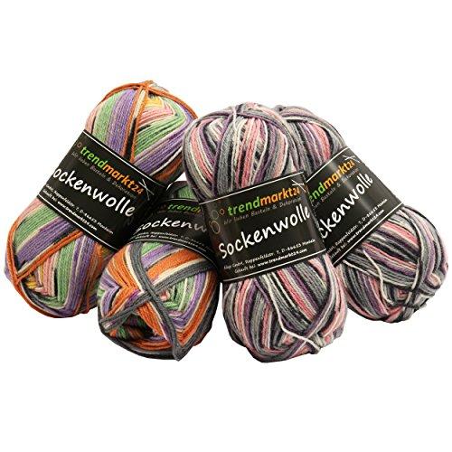 Wolle-Set-Mix ✓ Pink Rosa 4fädig ✓ Woll-Paket insg. 200g ✓ 75% Schurwolle 25% Polyamid ✓ OEKO-TEX Standard100 Ökotex ✓ Socken-Wolle 4fach ✓ Stumpfwolle Strickwolle Mix Sparpaket   trendmarkt24 602029