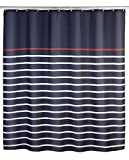 WENKO 20965100 Duschvorhang Marine Blue - waschbar, mit 12 Duschvorhangringen, 100 % Polyester, Mehrfarbig