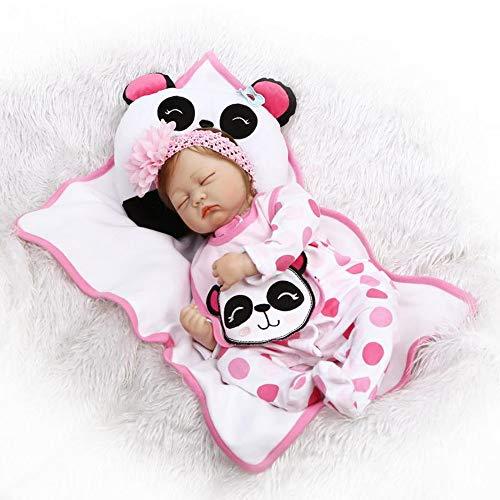 SYP Nouveau-Né Baby Dolls Enfant Jouet de Noël Cadeau Reborn Bébé Poupée 22 Pouces 55cm dorment Fille Souple en Silicone Vinyle Magnétique