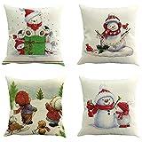 Longra 4er Set Weihnachts Kissenbezüge Kissenhüllen mit 4 Motiven Designs Weihnachtliche Dekokissen, Sofakissen und kopfkissenbezug mit Weihnachtsmotiven, 45x45 cm (A)