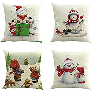 Ears Christmas Ornaments Home Decor Xmas Decor 4PC Weihnachten Kissenbezug Dekokissen Baumwolle Leinen Sofa Car Home Taillen Kissenbezug Dekokissen Fall