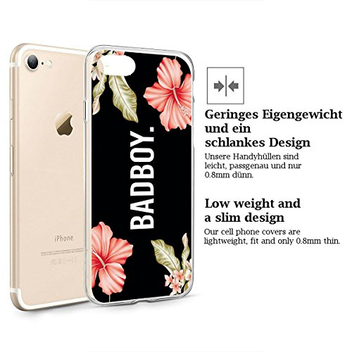 finoo | iPhone 8 Plus Weiche flexible Silikon-Handy-Hülle | Transparente TPU Cover Schale mit Motiv | Tasche Case Etui mit Ultra Slim Rundum-schutz | Princess white Badboy
