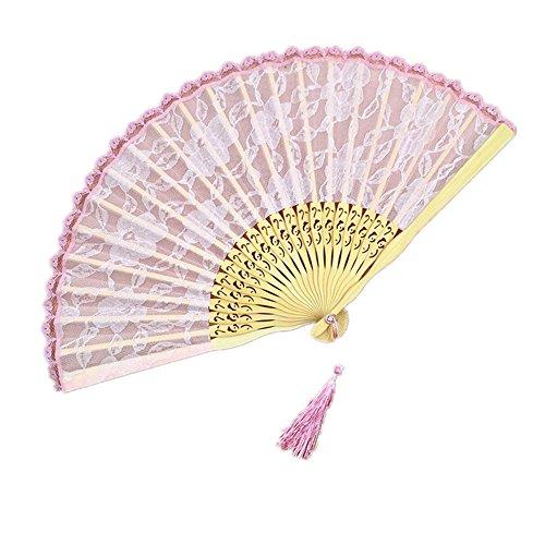 Chytaii Eventail Pliant en Dentelle Bambou Motifs de Fleurs Vintage Doublé avec Décoration Tassel Cadeau pour Femme Mère