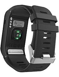 MoKo vívoactive HR Sport Armband - Silikon Ersatz-Uhrenarmband Uhrenarmband Einstellbar Armband Replacement Wechselarmband watch band für Garmin vívoactive HR Sport GPS-Smartwatch, Schwarz