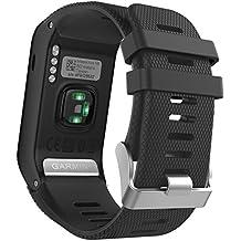 MoKo Garmin Vivoactive HR Correa de Reloj, Suave Silicona Reemplazo Watch Band para Garmin Vivoactive HR Deporte GPS Smart Watch con Pins y Herramientas Adaptador - Negro