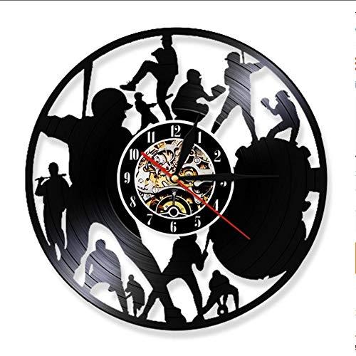 g Wanduhr Moderne Baseball Spiel Vinyl Rekord Wanduhr Baseball Team Dekoration Wand Uhr Bar Fans Geschenke Raumdekoration ()