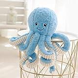JYCRA Cartoon-Oktopus-Plüsch-Puppe, 40 cm, süße Oktopus-Puppe, weich gefülltes Tier-Spielzeug, Plüsch-Kissen für Kinder, Mädchen, Jungen, Geburtstag, Plüsch, blau, 40 cm