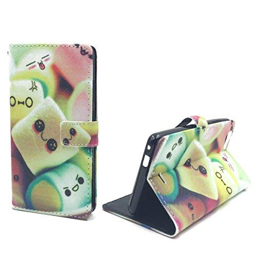König-Shop Handy-Hülle für Wiko Pulp Fab 4G Klapp-Hülle aus Kunst-Leder   Inklusive Panzer Schutz Glas 9H   Sturzsichere Flip-Case in Mehrfarbig   Im Marshmallow Motiv