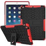 WindCase iPad Air Hülle, Outdoor Dual Layer Armor Tasche Heavy Duty Defender Schutzhülle mit Ständer Case für iPad Air (iPad 5) Rot