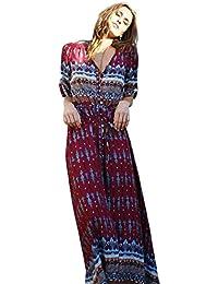 40928e22f6898a TWIFER Damen Sommer Böhmischen Kleid Tunika Floral Party Strand Lange  Maxikleid Sommerkleid Mädchen Frauen Dress Kleidung