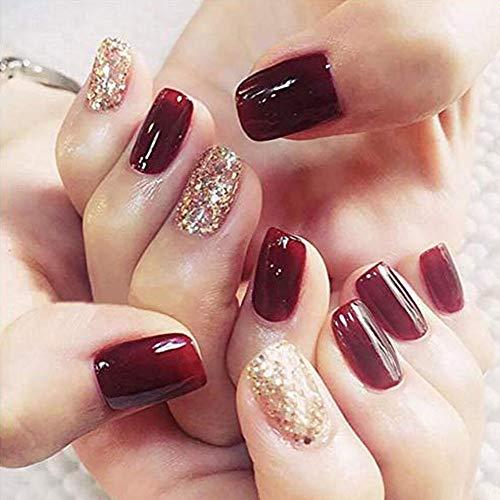 Weihnachten 24 stücke 12 Verschiedene Größe Falsche Nägel Golden Glitter Rotes Quadrat Kurze Gefälschte Nägel
