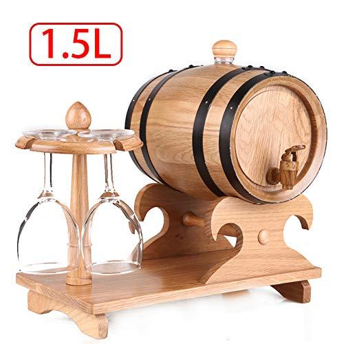 FYJTL Weinfass - Weinbereitung Holzwaren Keine Leckage Zapfhahn Massives Schnapsfass Kein Liner Eichenfass Holzfass Quality Unlackiertes Holzfass,Yellow,1.5L