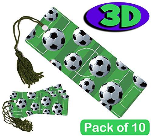 10 Stück High Qualität, 3D Lesezeichen - Fußball Bälle. Toll als Party Tasche Füllstoffe oder Ende der Begriff, Geschenke für Schüler