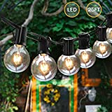 Svater Led Globe Outdoor Garden String Lights 25FT 25 Bulbs G40 Patio Party Hanging String Lighting Waterproof Outdoor Gazebo Wedding Bistro Cafe Backyard Extendable Festoon Lights [Energy Class A+]