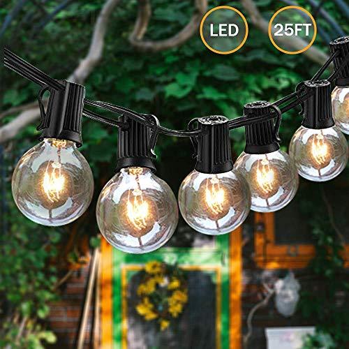 Svater G40 Lichterkette Gluehbirne Aussen, 25Ft Globe Schnur Lichter, 25 Hängende Led Glühbirne Aussen Globus Glühlampen, Nicht Dimmbare Innen Außen Lichterkette Birnen für Garten -
