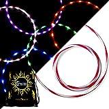 STARBURST Glow LED Hula Hoop Reifen mit 28 Helles Farbig LEDs und Handlicher Rosa Silikon-Griffstreife + Tasche! Helle Farbe LED's Für Hoop Dance und Übung Für Alle Altersgruppen - 90cm! (Lila)