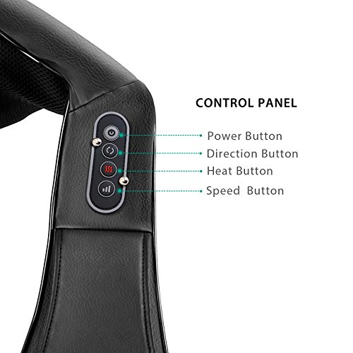 Naipo Shiatsu Back and Neck Massager with Heat and Timing Function Dust Cloth Protect Shoulder Massage Office Home Car Use