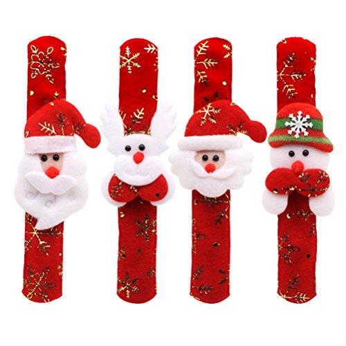Toyvian 12 stücke Slap armbänder mit Santa schneemann Rentier Dekorationen Weihnachten Party Favors Weihnachten Armband für Kinder Jungen mädchen