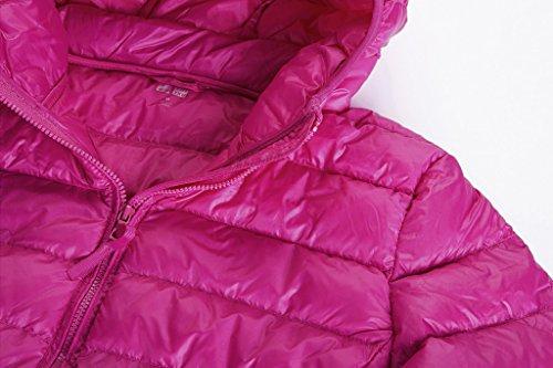 Wantdo Femme - Doudoune Zippée - Capuche - Poche Zippée Rouge - Rose rouge