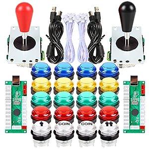 Avisiri 2 Spieler LED Arcade Buttons und Joystick DIY Kit 2 x Joysticks + 20 x LED Arcade Buttons Game Controller Kit für Windows und MAME und Raspberry Pi Mehrfarbig Mix-Colors-Kits