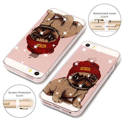 Coque iPhone 5 / 5S / SE, SpiritSun Clair Transparente Etui Coque en Silicone pour iPhone 5 / 5S / SE (4.0 pouces) Flexible TPU Housse Etui Souple Silicone Etui Coque de Protection Mince Légère Etui T Chien